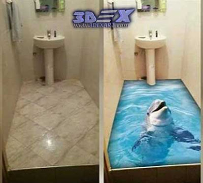 3d dolphin flooring, 3d epoxy floor art, 3d bathroom floors