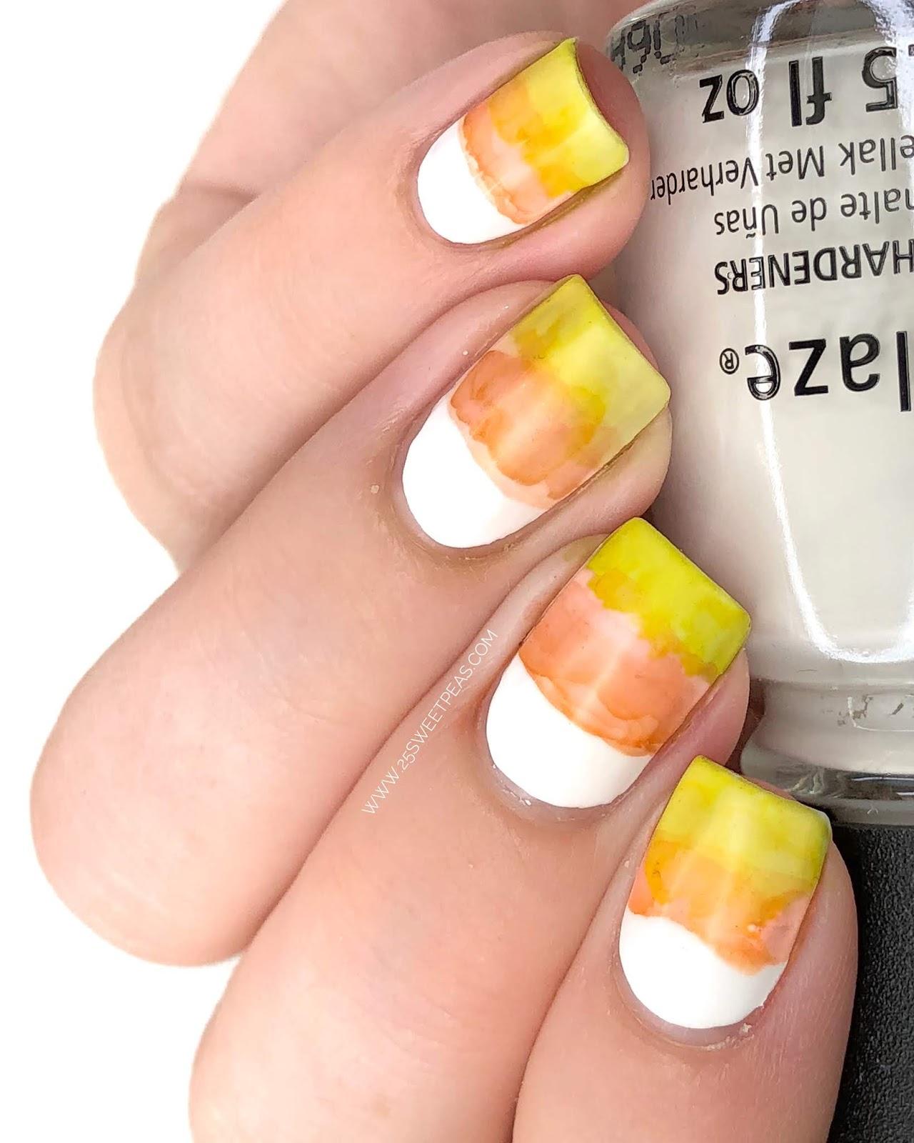 Easy Candy Corn Nail Art Using Sharpies - 25 Sweetpeas