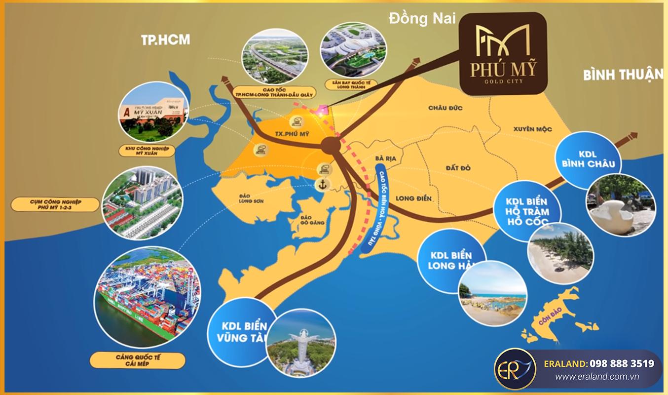 Vị trí tổng quan trên địa phận tỉnh BRVT của Phú Mỹ Gold City