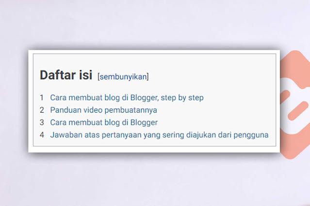 Membuat Daftar Isi di Postingan Blogger Mirip Wikipedia
