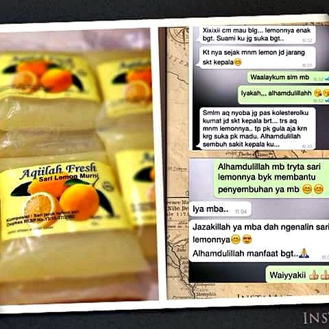 Testimoni Pengguna Sari Lemon Aqiilah Fresh - Mengobati sakit kepala akibat kolesterol