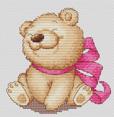 schema punto croce per bambini- orsetto con fiocchi  schema punto croce per bambini- orsetto con fiocco rosa