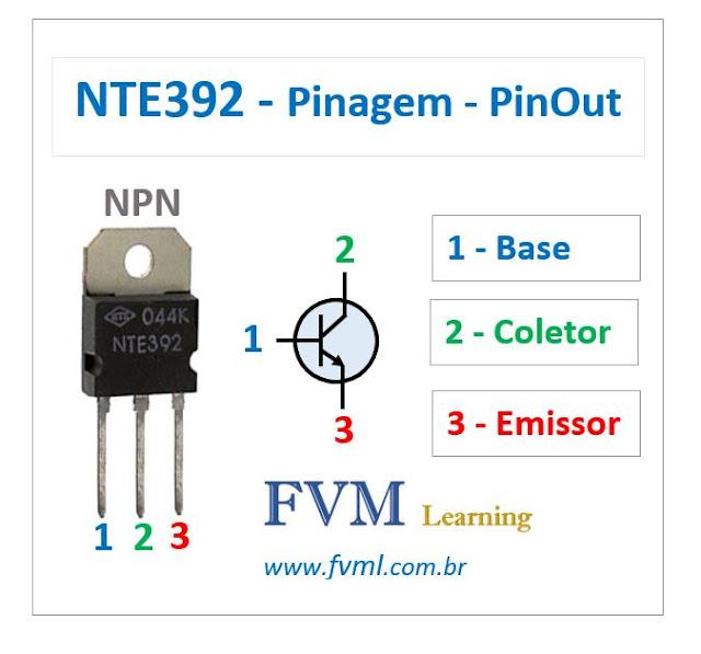 Pinagem - Pinout - Transistor - NPN - NTE392 - Características