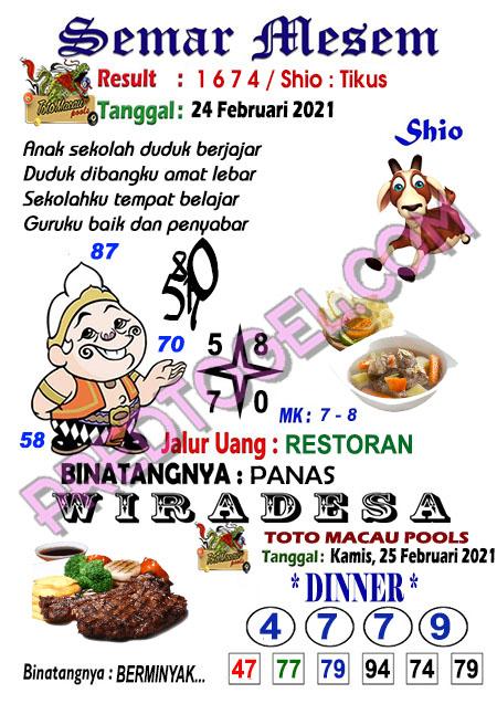 Syair Toto Macau Semar Mesem Kamis 25 Februari 2021