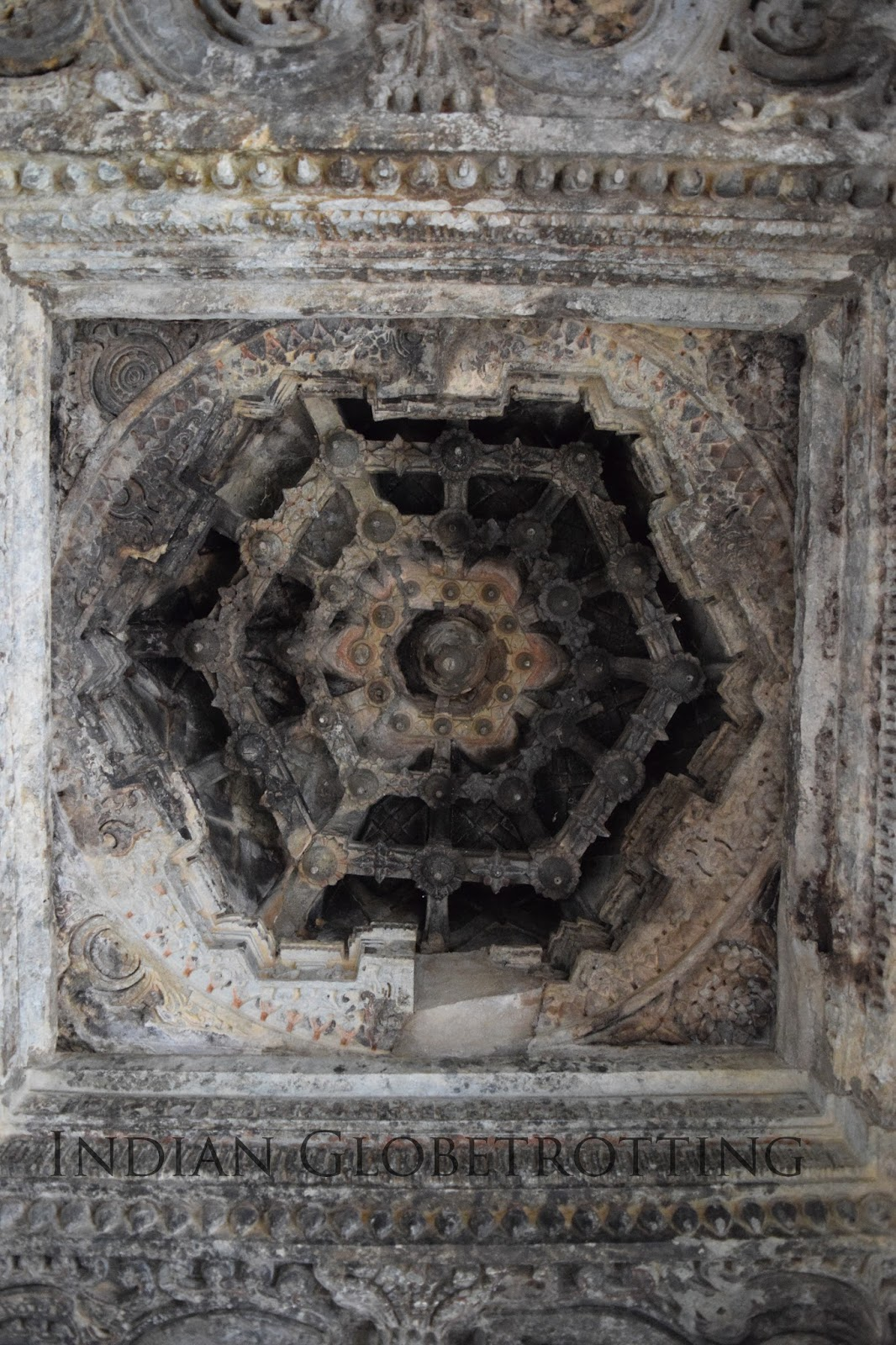 Finely carved ceiling of the famous hoysala temple, bucheswara temple in koravangala