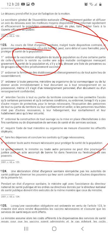 VACCINATION de FORCE -  Loi de Santé publique du Québec - Juin 2020 20200814_122928