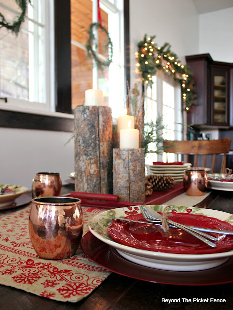 Christmas decor, Christmas table setting, woodland decor, Christmas dishes, Hometalk, Country Living, http://bec4-beyondthepicketfence.blogspot.com/2015/12/home-for-christmas-home-tour-blog-hop.html