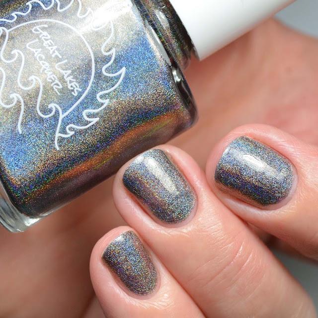 holographic grey nail polish swatch