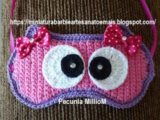 Máscara de Dormir Corujinha em Crochê Por Pecunia MillioM