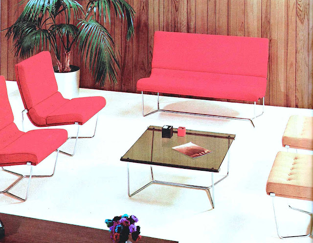 a 1966 business reception area color photograph