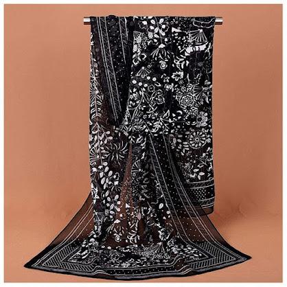 Designer Black Chiffon Scarves Shawls
