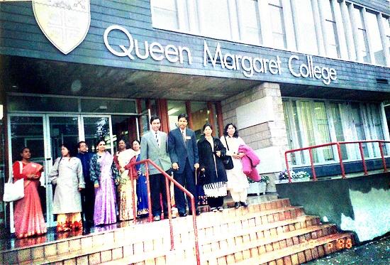 At the Queen Margaret College, UK, 1996
