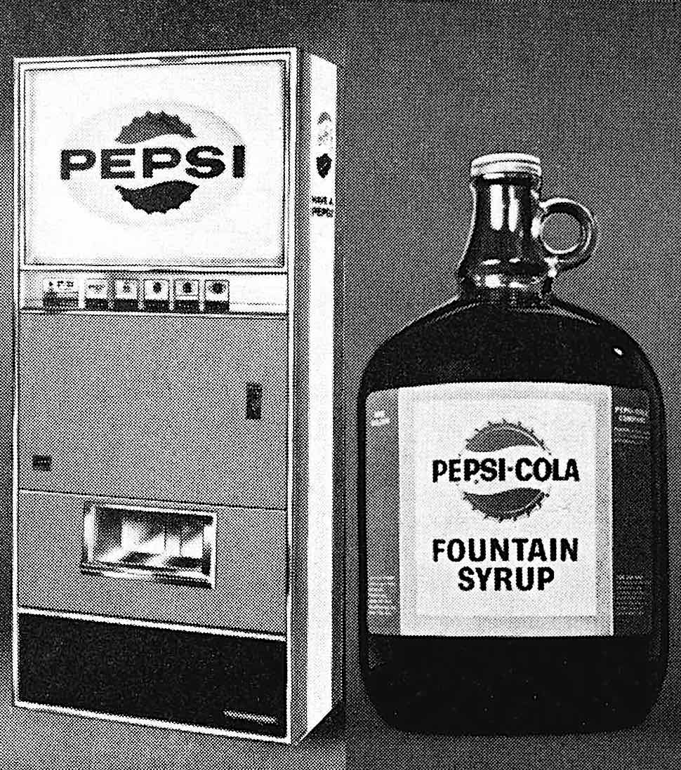 from a 1965 movie theater supply catalog, a Pepsi Cola machine with a jug of fountain syrup