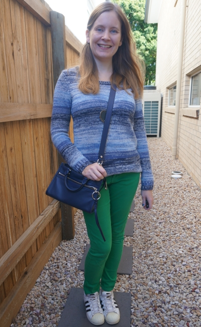 navy ombre stripe knit pullover jumper with green jeans Adidas superstar and Rebecca Minkoff micro Bedford bag | awayfromblue