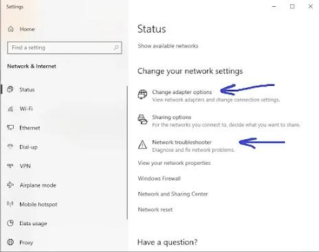 حل مشكلة عدم اتصال الانترنت