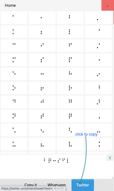 How to Share Braille Symbols On Twitter?