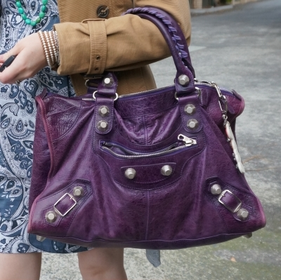 beaded accessories, Balenciaga raisin purple 2009 giant silver G21 hardware work bag | Away From The Blue