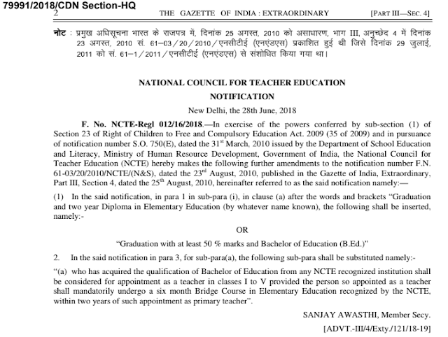 Gazette of India- B..Ed From any NCTE Recognized institution consider for Appointment as Primary tacher 1 to 5th classes