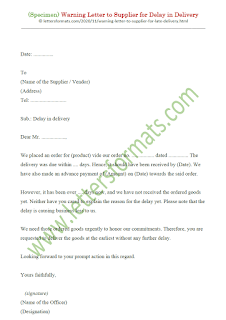 sample complaint letter to supplier for delay in delivery