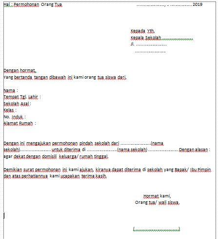 Unduh Contoh Surat Permohonan Pindah Sekolah Kanjeng