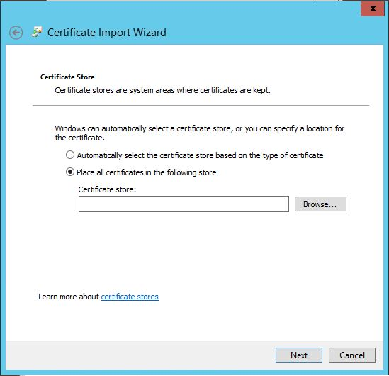 browse to certificate store