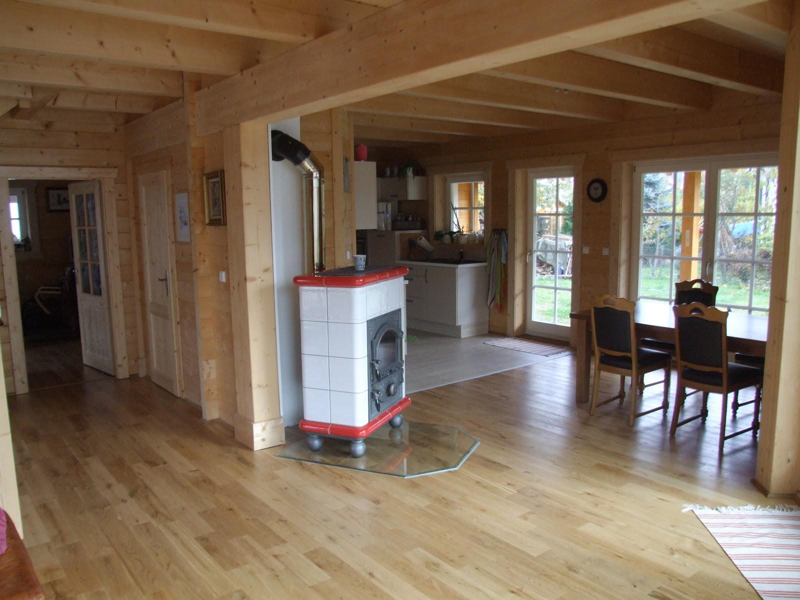 Favori Maison en bois Leonwood: salon salle à manger vue sur le parquet  PE43