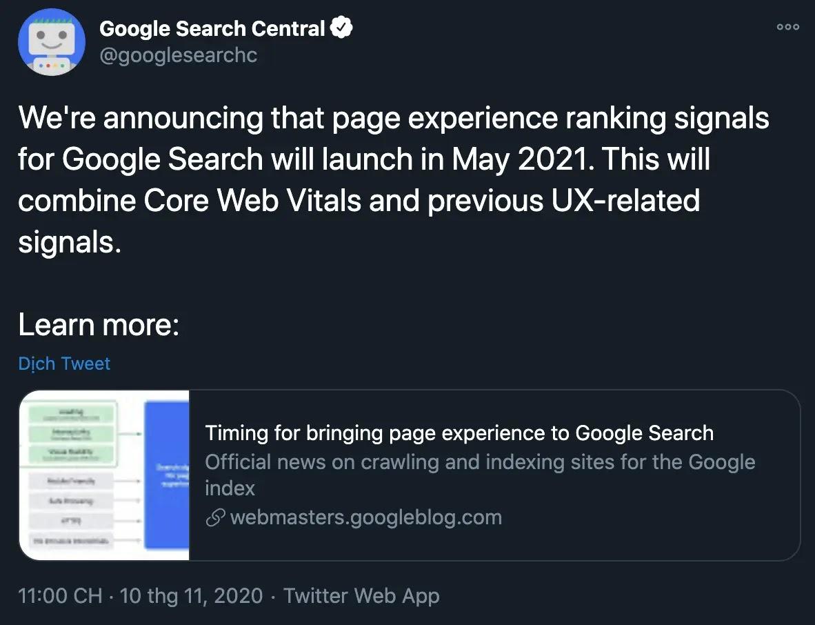 Thông báo từ Google về Core Web Vitals