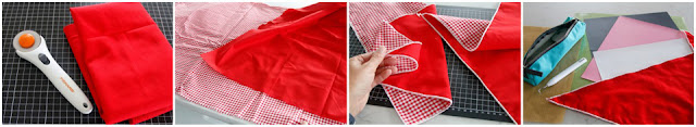 Sewing a DIY Valentine's Day dog bandana with serged edges