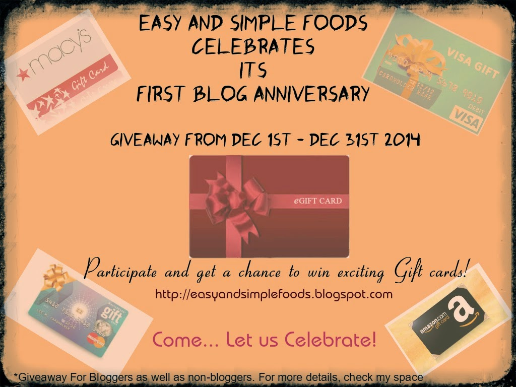 On going Event:First Blog Anniversary Giveaway