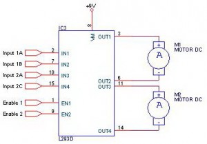 DC motor driver with H-Bridge  IC L293D