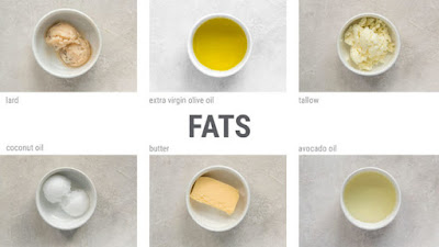 دليل مرئي للدهون لنظام غذائي الكيتون بما في ذلك زيت الزيتون وجوز الهند وزيت الأفوكادو.