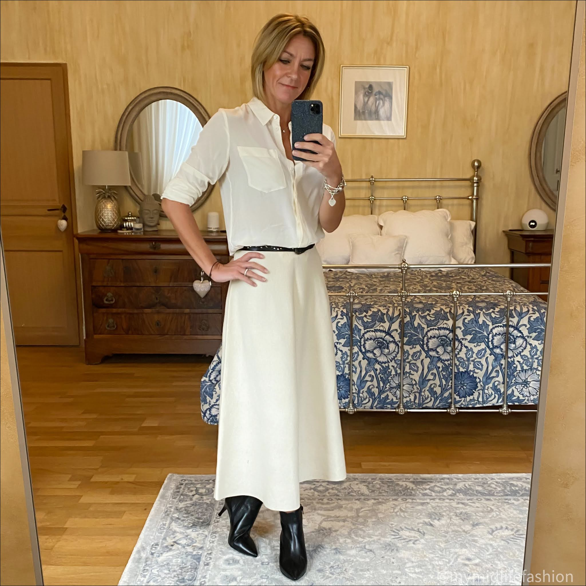 my midlife fashion, marks and Spencer pure silk Long sleeve shirt, sole bliss Brooke ankle boots, Joseph wide studded leather belt, next a line knitted skirt