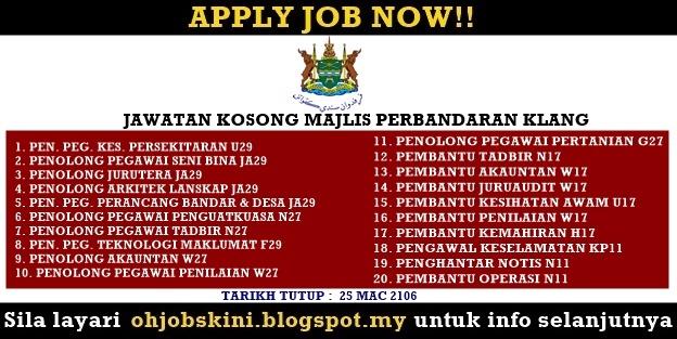 Jawatan Kosong Majlis Perbandaran Klang (MPKlang)