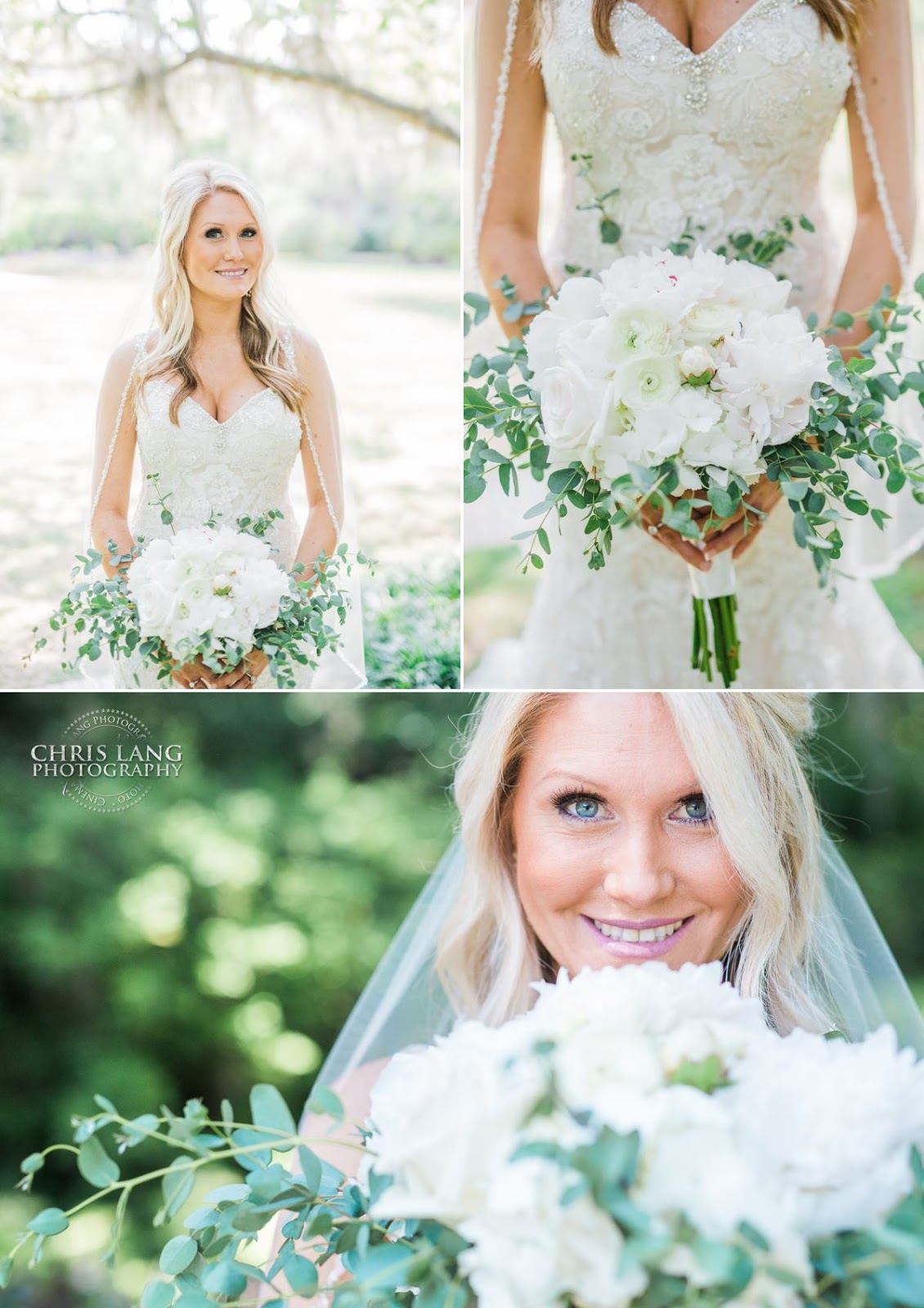 Bride- wedding dress- bridal bouquet - airlie gardens- wedding pictures - wilmington nc wedding photographers