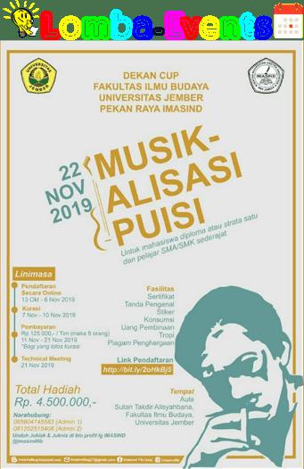 Lomba Musikalisasi Puisi Unej 2019 SMA Sederajat & Mahasiswa