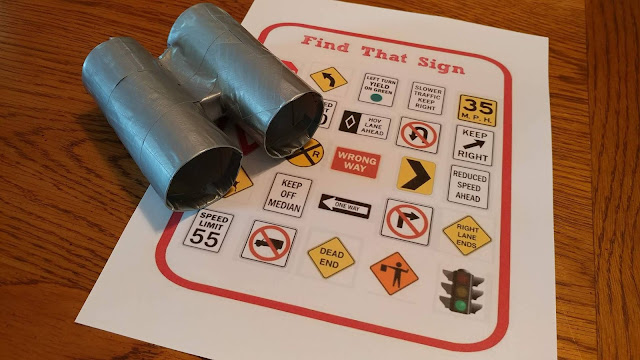 Street sign scavenger hunt with binoculars