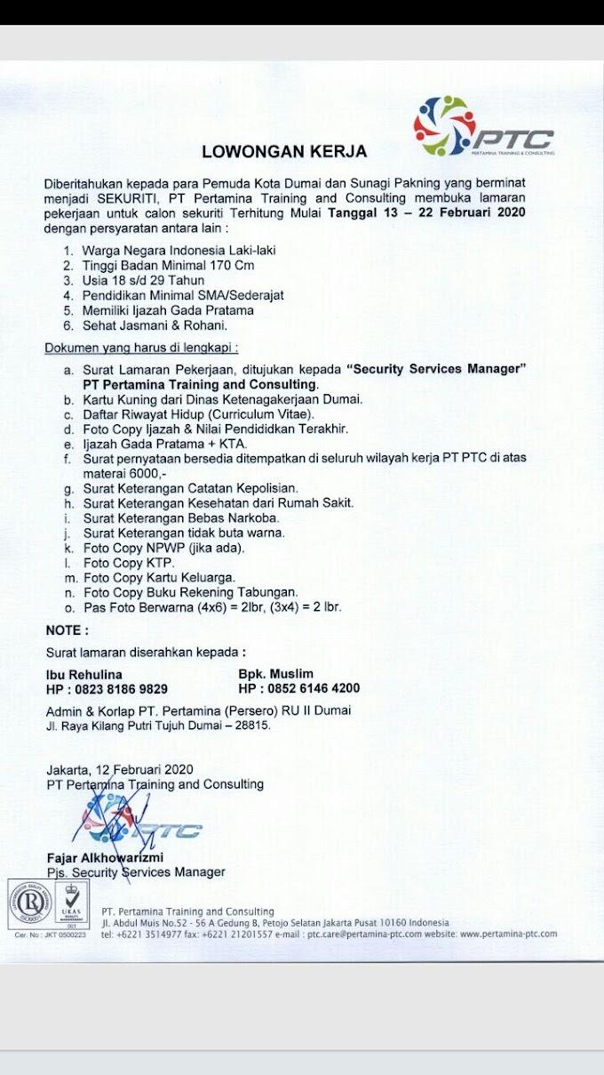 Loker Scurity di PT. Pertamina Training dan Consulting