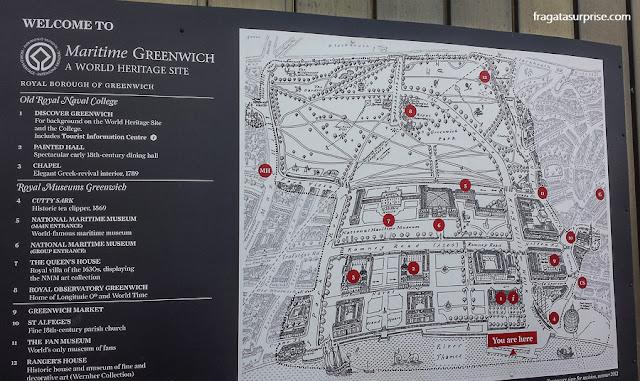 Mapa das áreas históricas de Greenwich, Londres