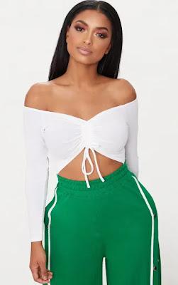 Shape White Ruched Detail Bardot Bodysuit