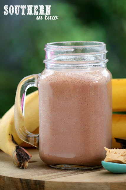 Easy Healthy Chocolate Peanut Butter and Banana Smoothie Recipe - low fat, gluten free, sugar free, vegan, healthy, dairy free, peanut flour, pb2, quick snack recipes
