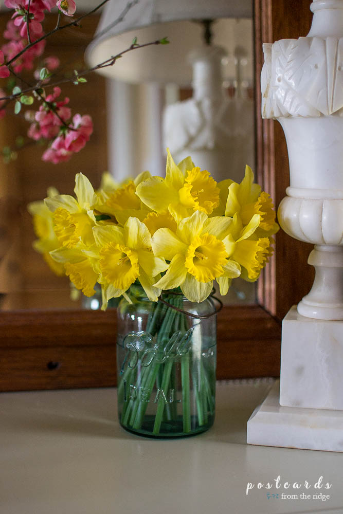 blue mason jar with yellow daffodils