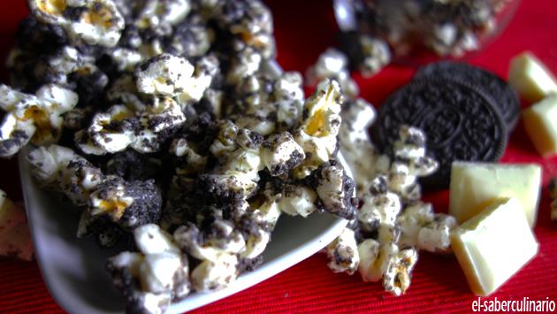 Cómo hacer Palomitas de Oreo y Chocolate Blanco