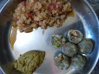 Pearl millet Veg dumplings,  Cabbage curry,  Coriander chutney