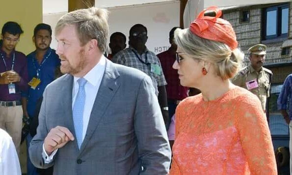 Queen Maxima wore a lace midi dress by Natan, Queen wore a Natan pumps and Ole Lynggaard diamond earrings