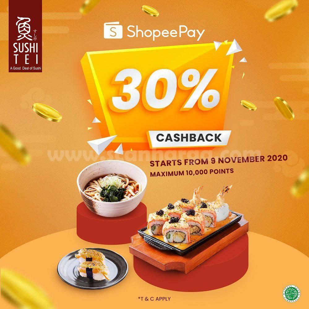 Sushi Tei Promo Cashback 30% Transaksi dengan ShopeePay*