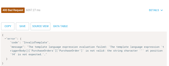 expression evaluation failed on splitOn property