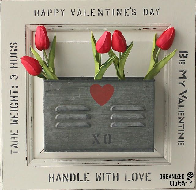 Valentine's Day DIY Decor With Old Sign Stencils & Hobby Lobby #stencil #oldsignstencils #valentinesday #cabinetdoors #upcycle #repurpose #Hobbylobby