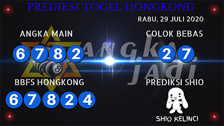 Prediksi Angka Jitu Togel Hongkong HK Rabu 29 Juli 2020