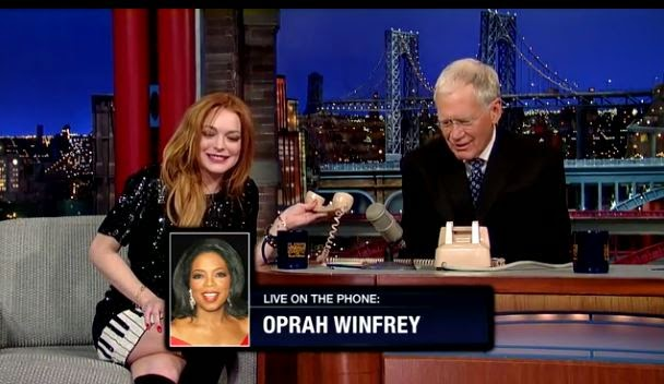 Lindsay Lohan and David Letterman call Oprah live on The Late Show