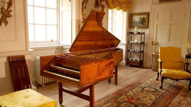 The 1772 Kirckmann harpsichord in the family parlour at Dumfries House